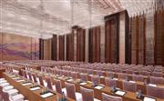 814平方米无柱式海航宴会厅,可根据会议需求分为两个407平米的中型多功能厅