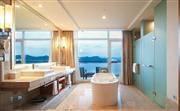 开放式的浴室配有浴缸和热带雨林式花洒淋浴间