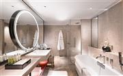 卫浴空间整体色调明亮,设计灵感来源于北京园林里常见的月亮门,以镜中镜的方式完善化妆镜的立面设计,增强